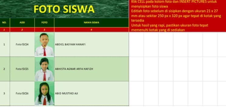 tampilan sheet untuk memasukan foto siswa Aplikasi Cetak Kartu NISN Berbasis Dapodik